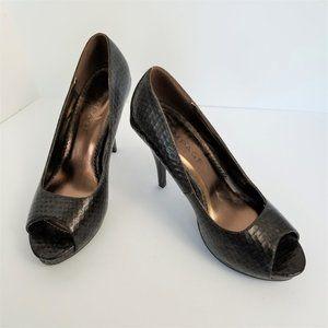 RAMPAGE Classic Copper Brown Peep Platform Heels